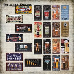 Gratis Dingin Minum Bir Logam Mobil Plat Merek Anggur Minuman Keras Tin Tanda Untuk Bar Pub Garage Wall Art Lukisan Dekoratif YA020