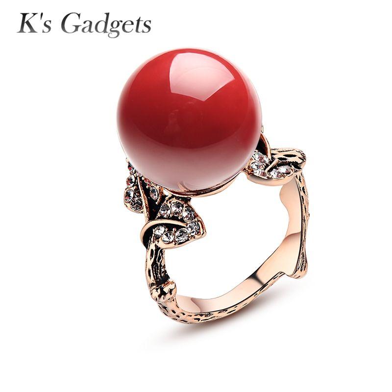 K'S Gadgets naturel artificiel corail pierre anneau rouge corail anneau Antique argent Rose or couleur pierre naturelle femmes Zircon Rubi