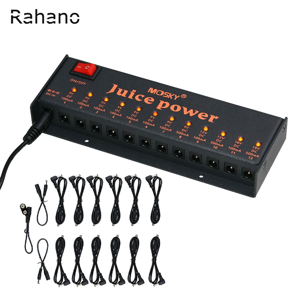 Rahano JUICE POWER Guitar Effect Power Supply For 9V 12V 18V Guitar Effects 12 Isolated DC Outputs Voltage Protection