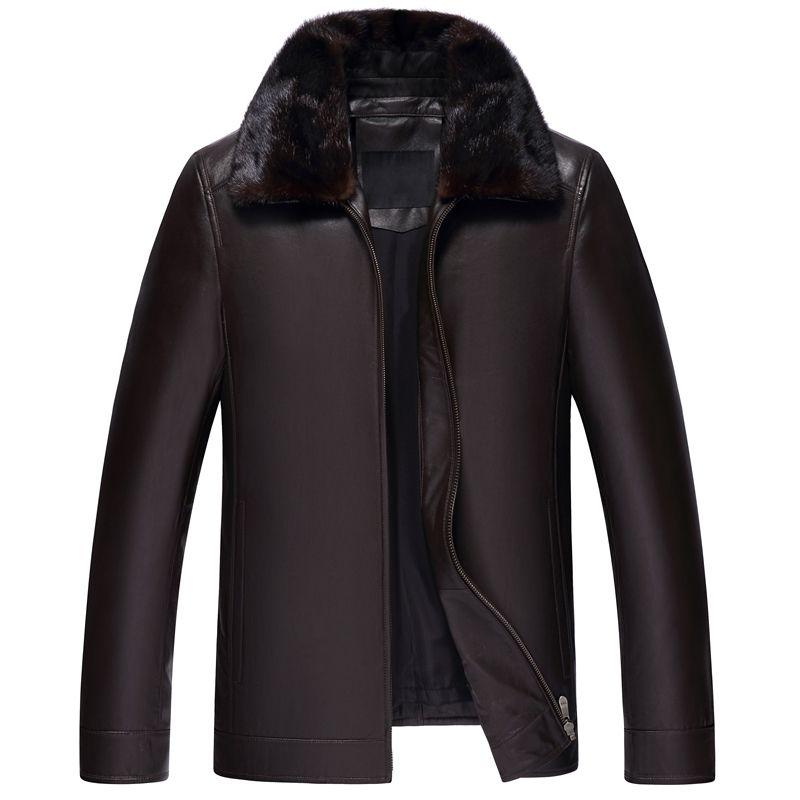 2018 Winter Neue Stil Leder Unten Mantel Männlichen Echt Leder Jacke Dicken Nerz Pelz Kragen Aus Echtem Leder Mantel Ente Unten innere Männer
