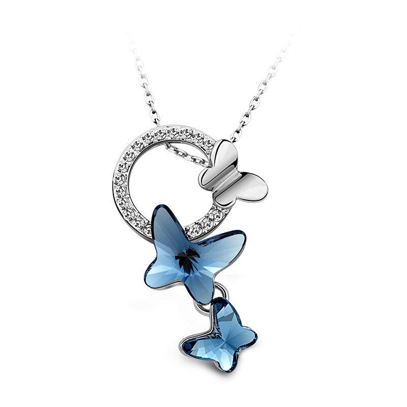HotSale, T400 Joyeros #1780 Verano Estilo Collar de Moda Made With SWAROVSKI ELEMENTS Crystal Forma de La Mariposa Collares y Colgantes