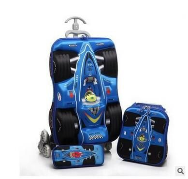 Boys Rolling Bag 3D stereo Boy's Car trolley case Cartoon Children Trolley Bags with wheels Travel suitcase Lunch bag Kid's