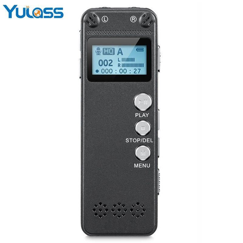 Yulass Dual Mikrofon 8 GB Digital Voice Recorder Diktiergerät Voice Aktiviert PCM 560 Stunden Audio Recorder mit Oled-display