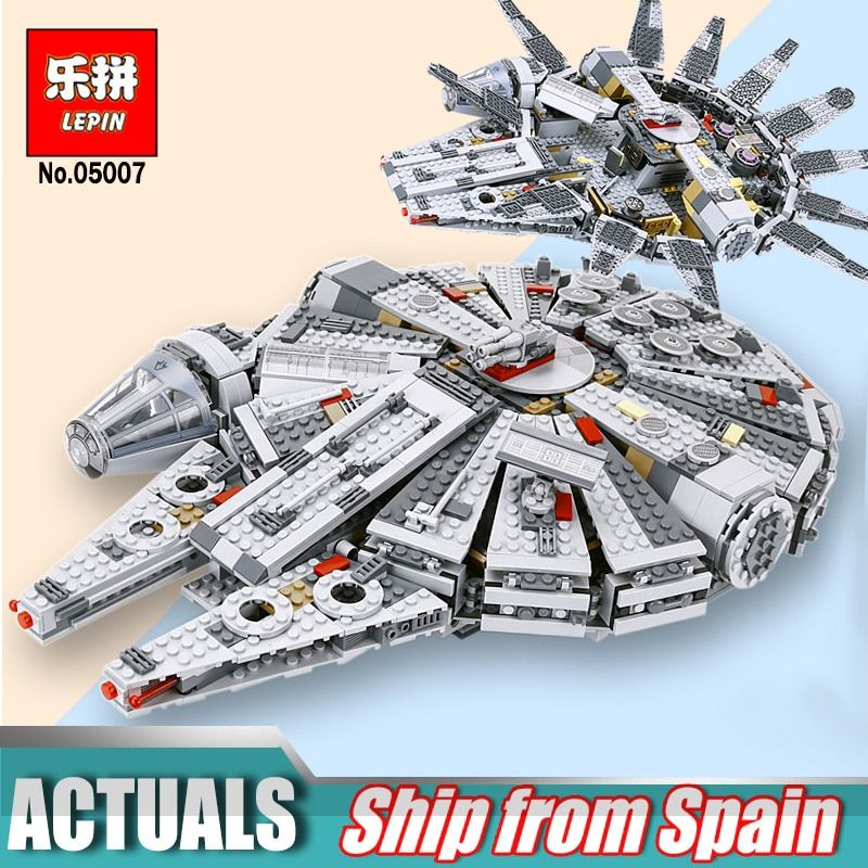 Hot Lepin 05007 Star Series Force Awakens Millennium Building Falcon Blocks Compatible Legoingly 75105 Kids Lepin Wars Toys