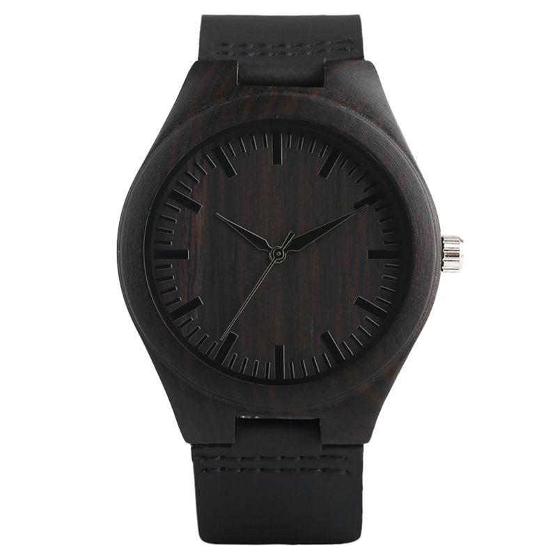 Creative Wooden Watch Minimalist Clock Bamboo Genuine Leather Fashion Men Women Male Female Reloj de madera
