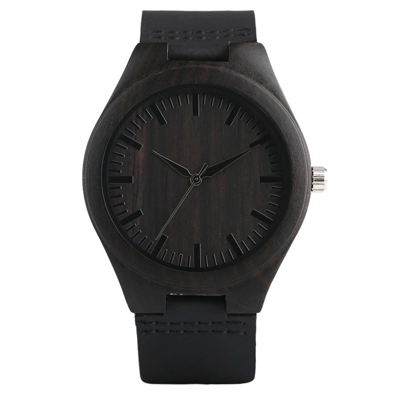 Creative Wooden Watch Minimalist Clock Bamboo Genuine Leather Fashion Men Women Male Female Reloj de madera