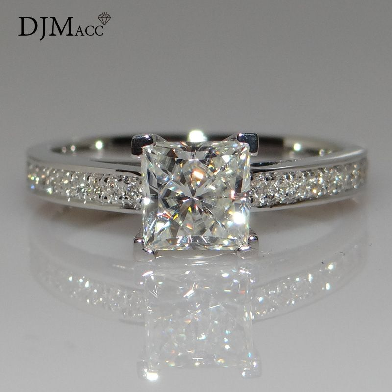 DJMACC AAA Quality Fashion Jewelry 925 Sterling Silver Classic 1.0 Ct Shine CZ Zircon Square Wedding Rings For Women (DJ0777)