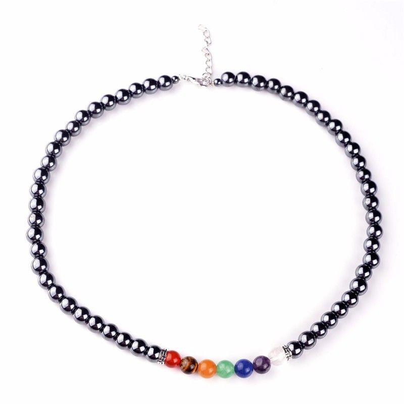 7 Chakra pierre hématite lave brin collier naturel violet Quartz oeil de tigre Lapis Lazuli perles colliers amulette colliers