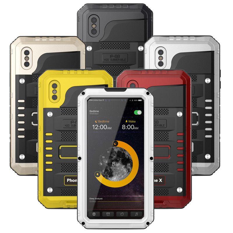 Luxury Doom armor Metal Aluminum Heavy Duty phone Case for iPhone 6 6S 7 8 Plus X 5 5S SE Shockproof Dustproof Waterproof Cover