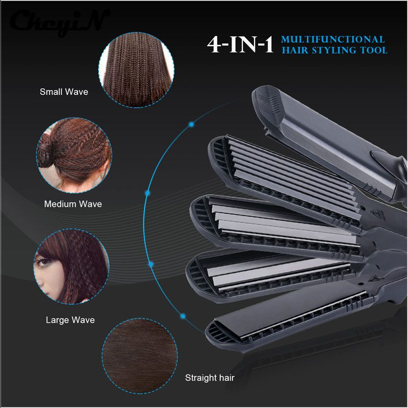 Hair Straightener & Corn <font><b>Wide</b></font> Waves Plate 4 style Interchangeable Hair Curling iron Corrugated Flat Iron Hair Curler styler Tool