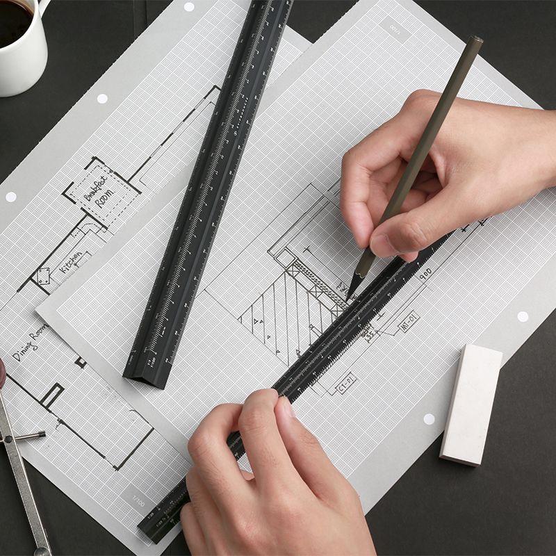 TUTU coloré de haute qualité 30 cm en aluminium règle triangulaire en aluminium 1:20-1: 600 alliage en métal échelle régua desenho H0046