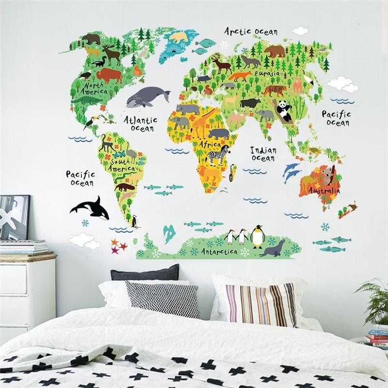 Animaux de bande dessinée carte du monde Stickers muraux pour enfants décorations de chambre Safari Art Mural Zoo enfants maison Stickers pépinière affiches