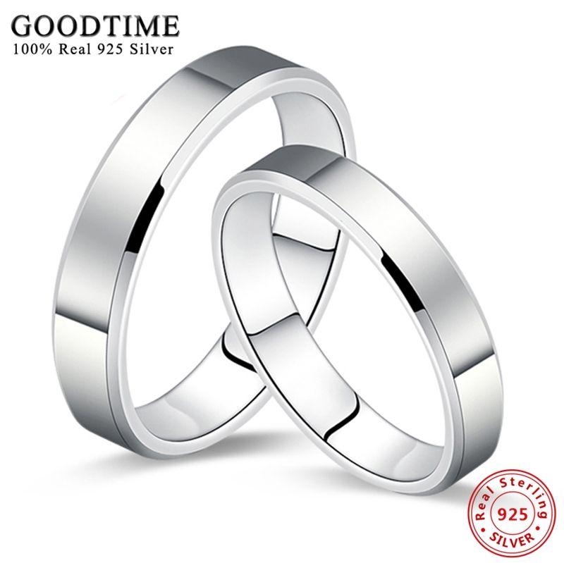 1 pièces 925 argent bijoux anneau Simple lisse pur solide argent Couple ensemble de mariage 925 Sterling argent anneaux pour femmes ou hommes