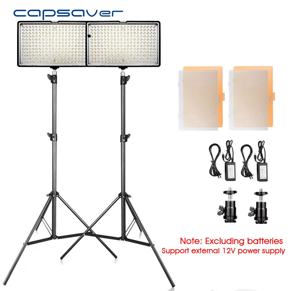 capsaver TL-240S 2 in 1 kit LED Video Light Photography Studio Lighting Kit with Tripod CRI93 3200K/5600K Photo LED Panel Lamp