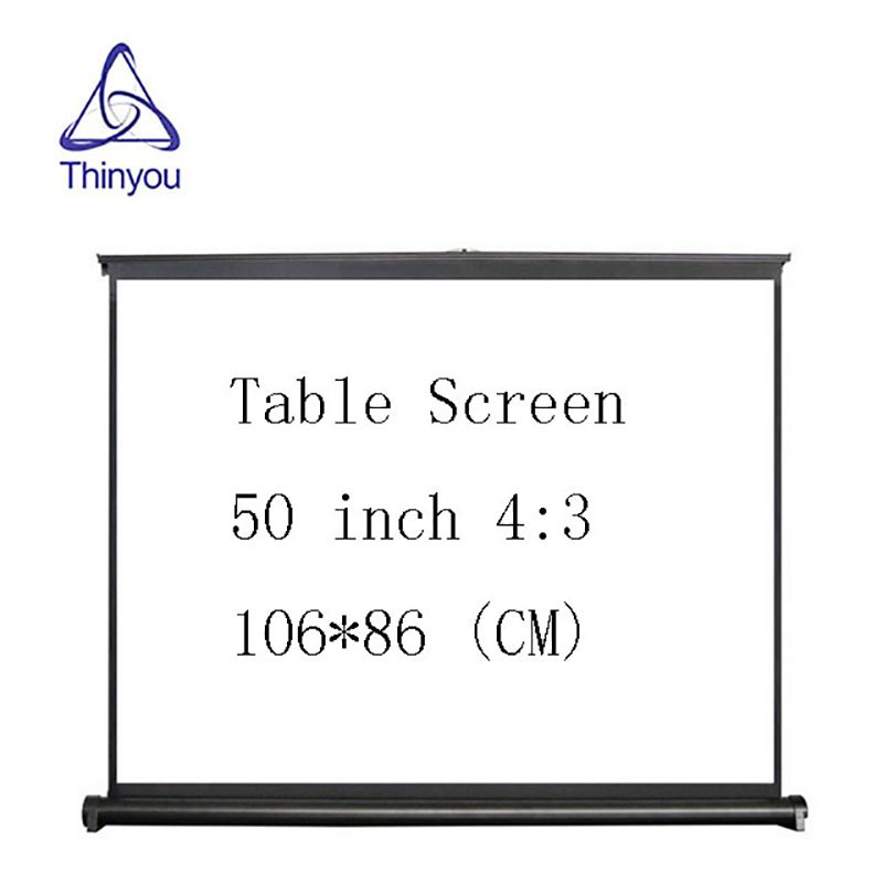 Thinyou 50 inch 4:3 Portable Mini Projector Table Screen Easy Carry Matt White Fabric for Home Travelling Meeting Exhibition