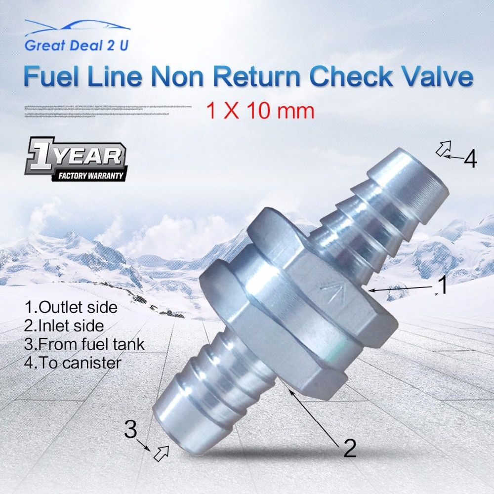 2pcs Vehicle 10MM  Car Styling Aluminums Alloy Fuel Non Return Check Valve One Way Petrol Diesel