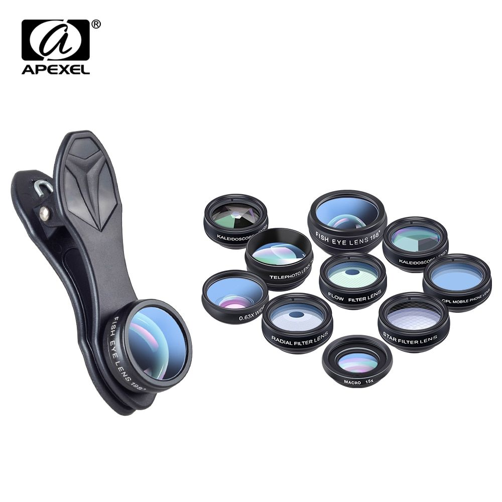 APEXEL 10 en 1 Kit d'objectif de caméra de téléphone Fisheye objectif macro grand Angle filtre CPL kaléidoscope et 2X lentille de télescope pour smartphone