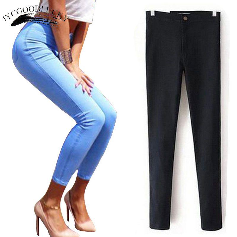 Jeans Pour Femmes Stretch Noir Jeans Femme 2017 Pantalon Maigre Femmes Jeans Avec Taille Haute Denim Bleu Dames Push Up Blanc Jeans