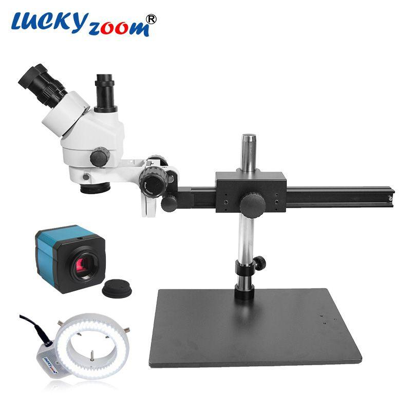 Luckyzoom 7X-45X Trinokular Löten Reparatur Mikroskop 14MP HDMI Microscopio Kamera 144 PCS Ring Licht Illuminator Freies Verschiffen