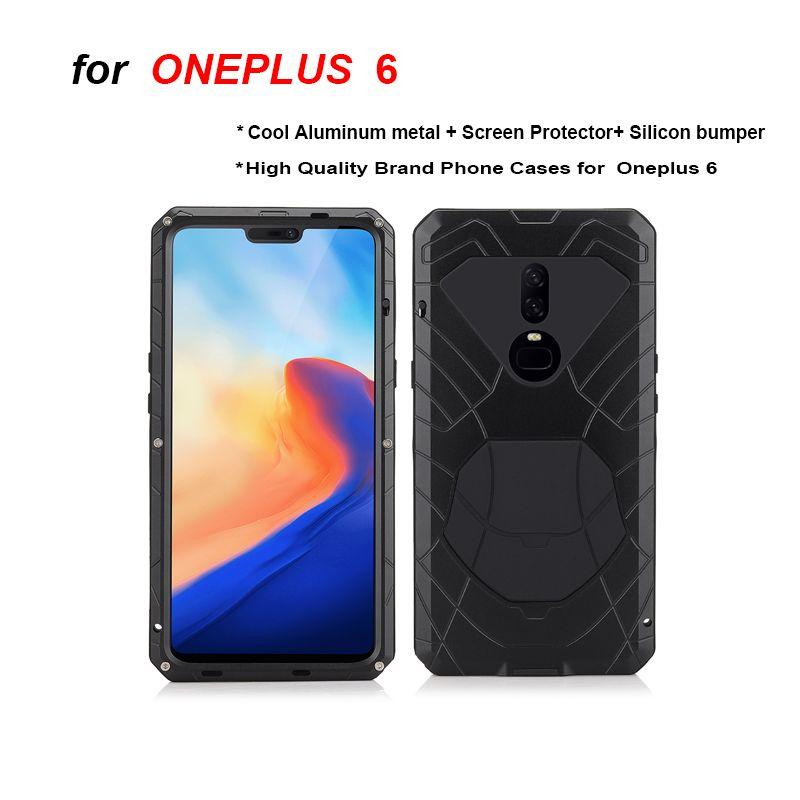 Oneplus 6 6 T boîtier en aluminium métal verre protecteur d'écran en silicone pare-chocs antichoc résistant aux chocs étui Oneplus 7 7Pro cas