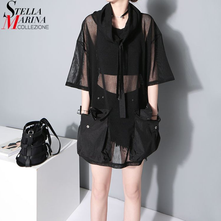 2018 Japanese Style Summer Women See Through Mesh Tee Top 1/2 Sleeve Oversized Black T Shirt femme Hipster Harajuku T-shirt 1549