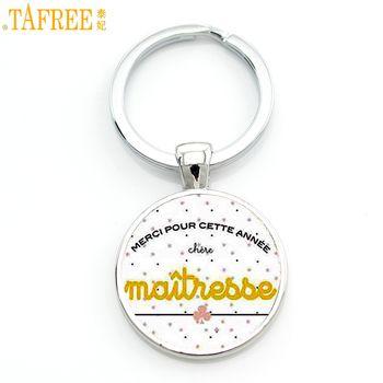 TAFREE merci maitresse clé chaîne porte-anneau de mode argent couleur verre métal porte-clés pour hommes femmes bijoux enseignants cadeau CT278