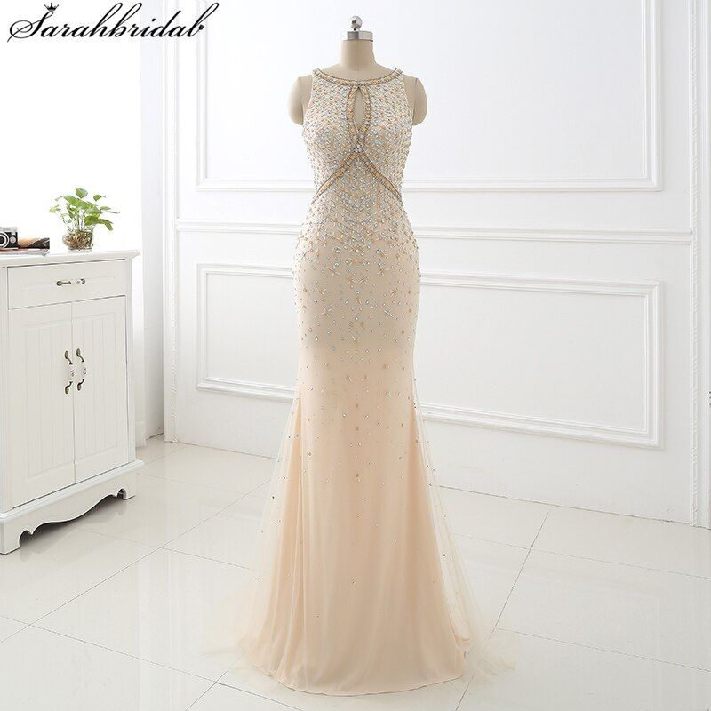 2017 Champagne Mermaid Long Evening Dresses vestido longo de Sheath Bodice Crystal Beaded Party Gowns Robe De Soiree LSX355
