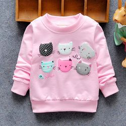 2019 New Arrival Baby Girls Sweatshirts Winter Spring Autumn Children Hoodies 6 Cats Long Sleeves Sweater Kids T-shirt Clothes