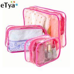 ETya прозрачная косметическая сумка-Органайзер для путешествий из ПВХ, женская прозрачная сумка-косметичка на молнии, косметичка для макияжа...