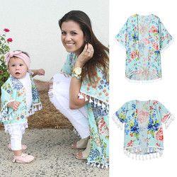 Muqgew Mommy & ME Pakaian Renang Pakaian Bayi Gadis Pakaian Kemeja Wanita BoHo Kimono Besar Cardigan Keluarga Rumbai 2019