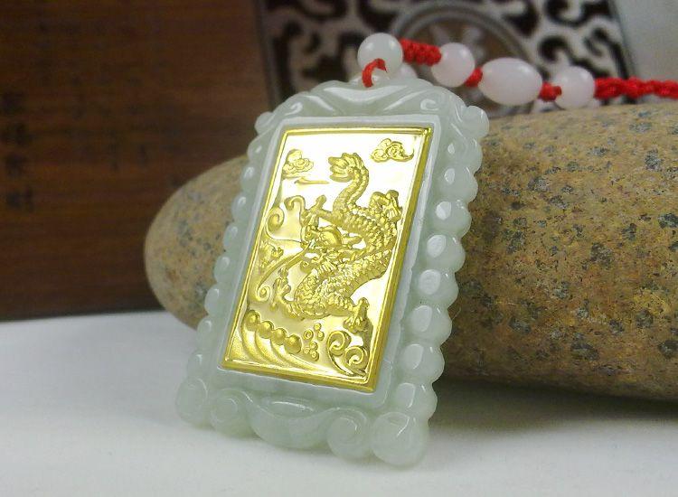 2018 золото jade квадратный Стиль дракон кулон хорошее качество Для мужчин Для женщин Цепочки и ожерелья
