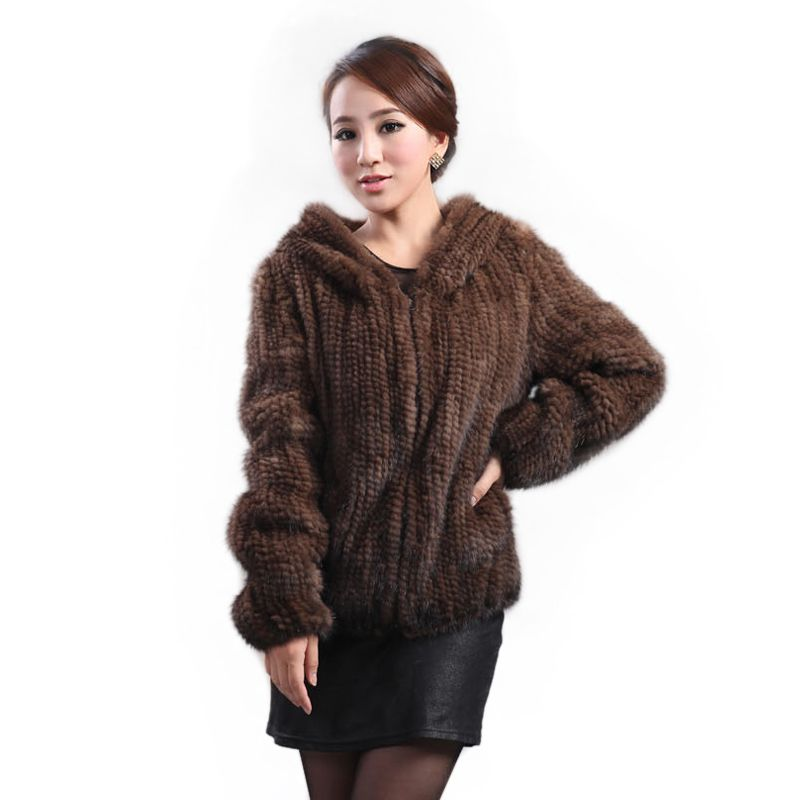 New mink fur coat women's long-sleeve top fashion all-match Mink knit jacket mink knitted fur coat Free shipping