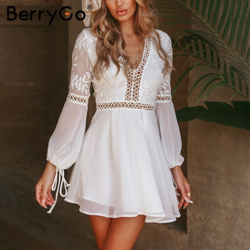 BerryGo Hollow out v neck vintage dress Lace up backless tie up white dress women Chiffon elegant embroidery short casual dress