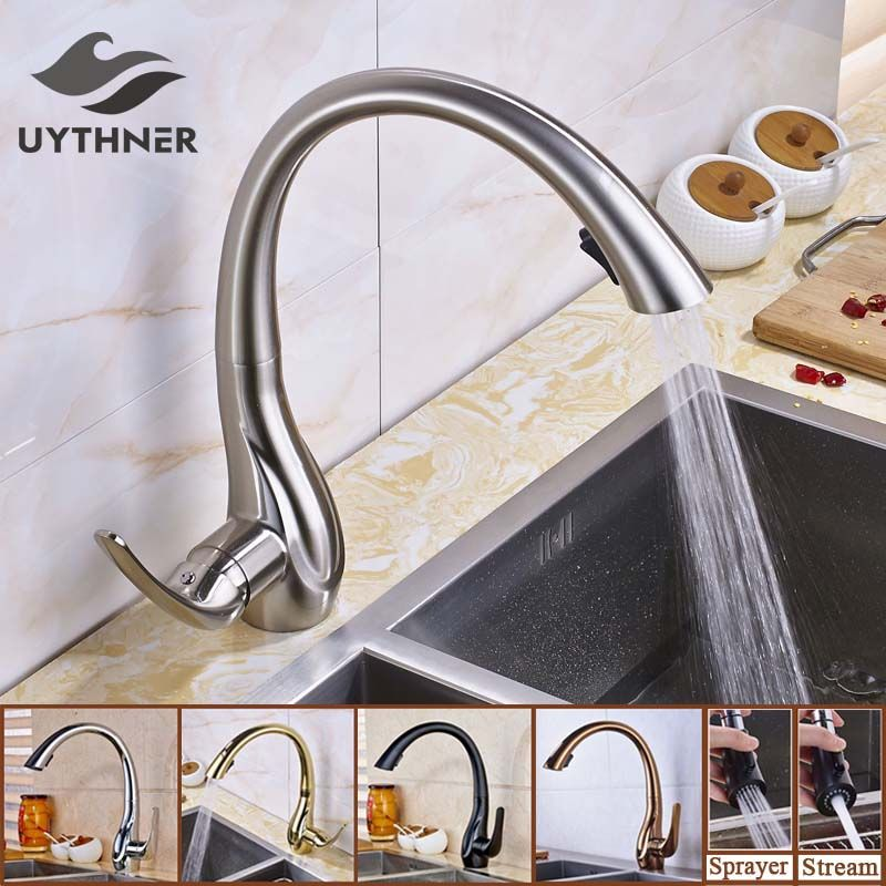 Uythner Nickel Brushed Pull Down Kitchen Sink Faucet Single Handle 2 Functions Outlet Water Mixer Tap