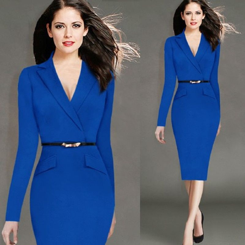 2018 Ladies Elegant Long Sleeve Blue Dress Pencil Women Formal Dresses Suit for Work Party Tunic Office Bodycon with Belt