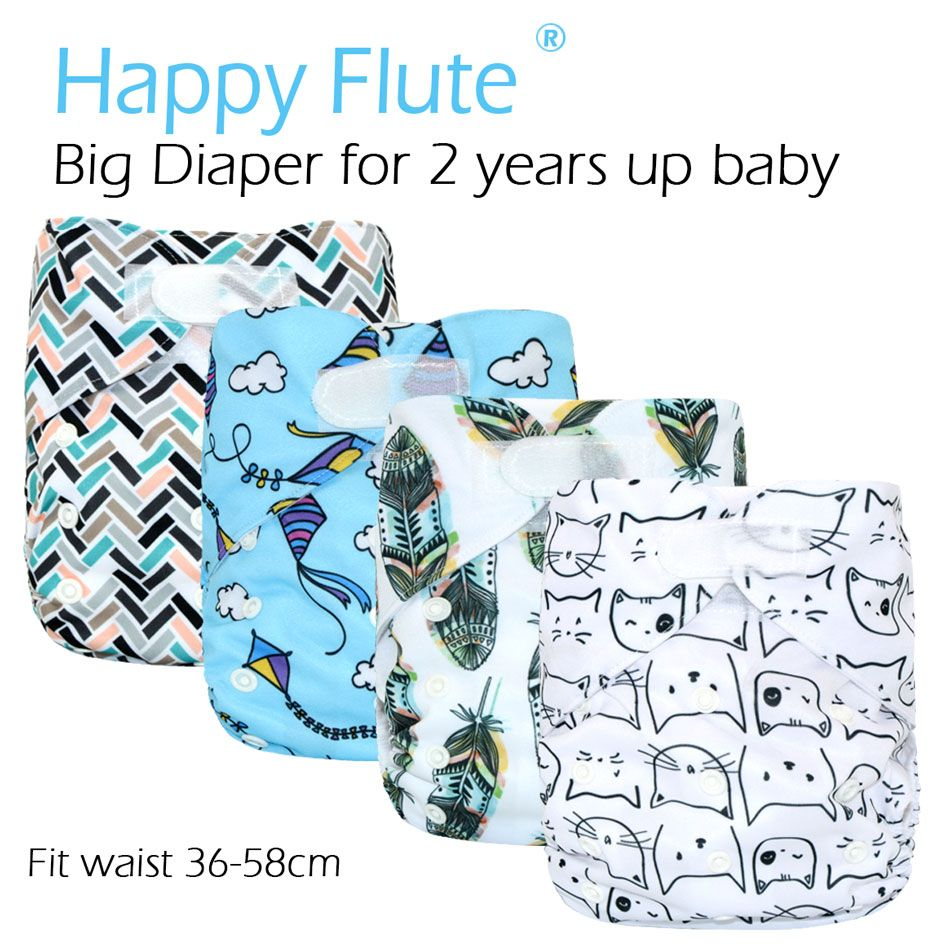 HappyFlute Big XL Pocket Diaper for Baby 2 Years and Older,suedecloth inner, stay-dry, size adjustable fits waist 36-58cm