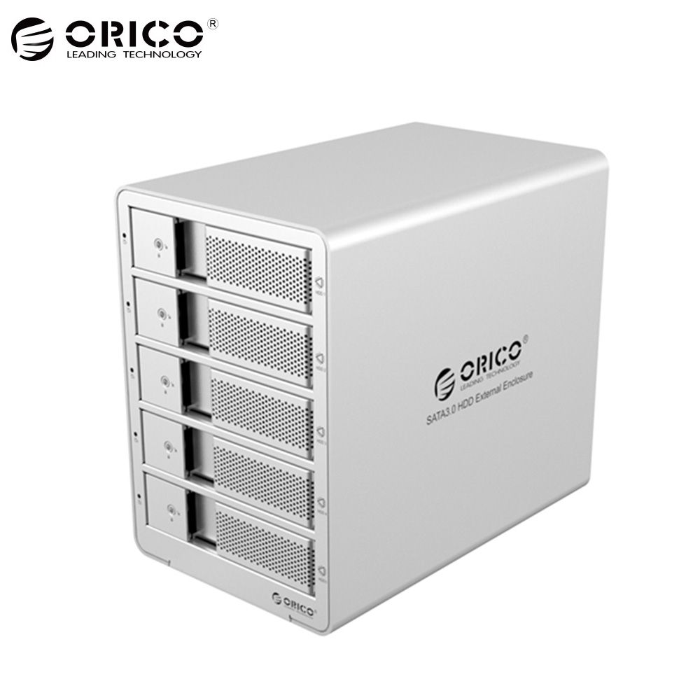 ORICO 9558RU3-SV 5-bay 3,5 ''USB3.0 ESATA Raid Festplattengehäuse HDD Docking Station Fall Unterstützung 40 TB für Laptop PC (silber)