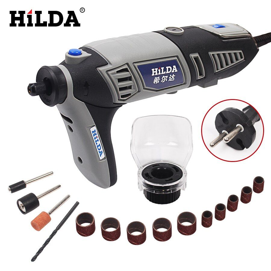 HILDA 220V 180W Variable Speed for Dremel Rotary Tool Electric Mini Drill with 14pcs Accessories