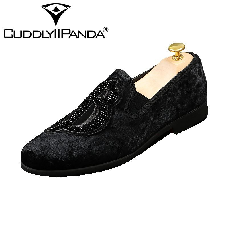 CUDDLYIIPANDA 2018 Mens Velvet Loafers Shoes Embroidery Men Party Dress Shoes Smoking Slipper Fashion Men's Flats Sneakers