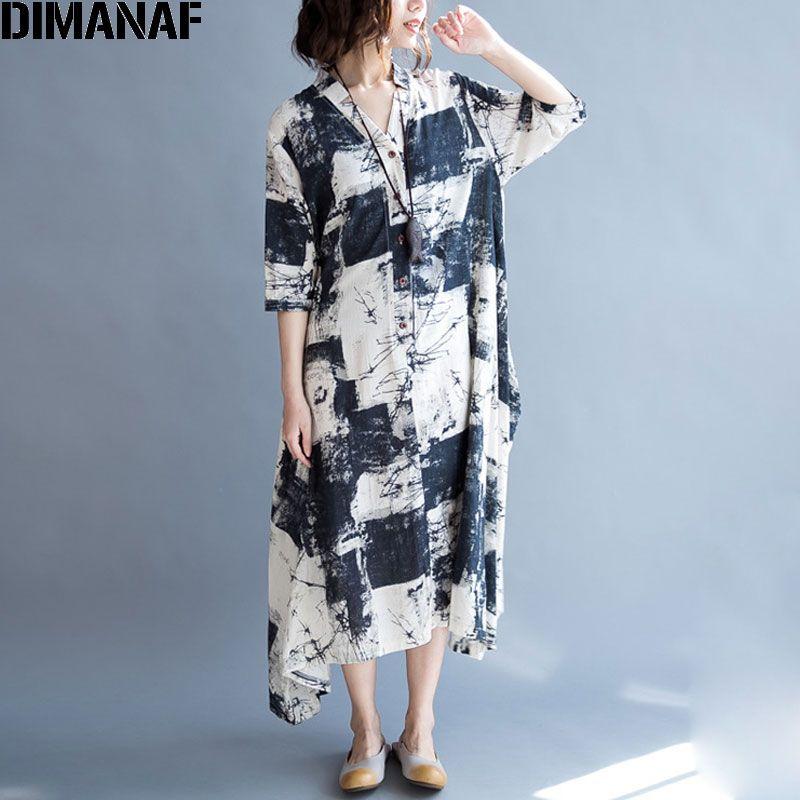 2018 Grande Taille Femmes Robe Lin Long Cardigan Blouse D'été Peint Vintage V-cou Motif Imprimer Femme Casual Élégant Robes