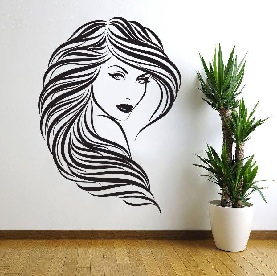 Autocollants muraux amovibles en vinyle décor à la maison cheveux Salon de beauté Salon de coiffure fille Sexy Stickers muraux femme visage 3D décor à la maison D152