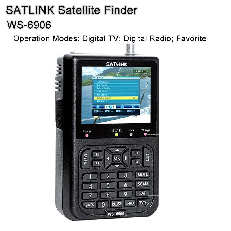 SATLINK WS6906 DVB-S 3.5 inch search Channel FTA digital satellite meter satellite finder satellite satFind LCD WS 6906