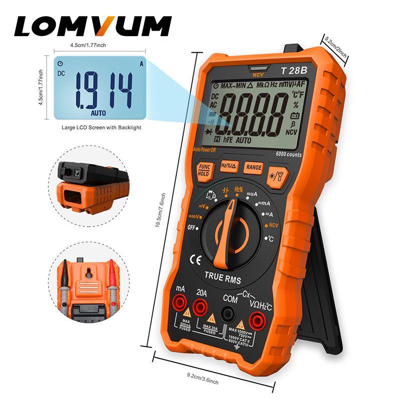 Multimètre numérique LOMVUM multimètre à affichage automatique de 6000 comptes testeur de multimètre 2 sondes mesure de la capacité de courant de tension