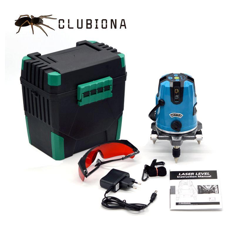CLUBIONA 5 laser lignes 6 points 360 degrés rotatif 635nm en plein air mode-récepteur et tilt slash disponible auto ligne laser niveau