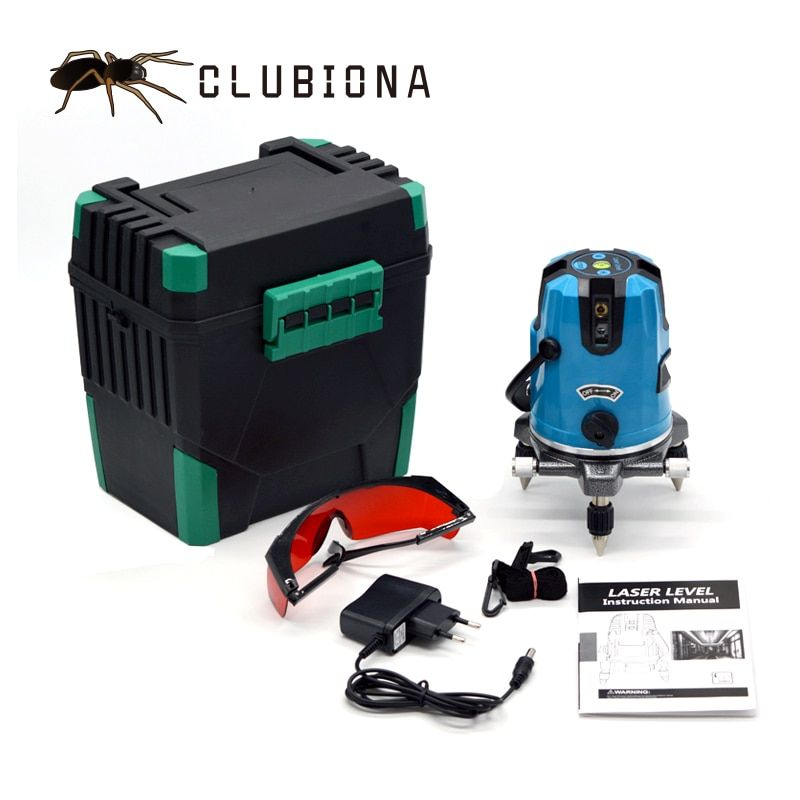 CLUBIONA 5 laser lines 6 points 360 degrees rotary 635nm outdoor mode - <font><b>receiver</b></font> and tilt slash available auto line laser level