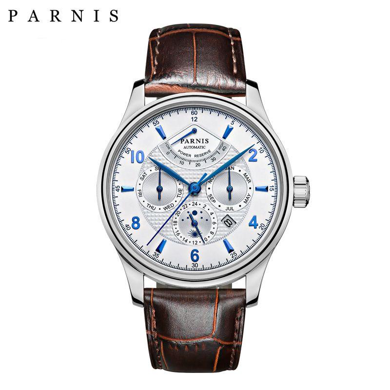 Casual 42mm Parnis Automatische Uhr Männer Power Reserve Mondphase Geschäftsleute Menchanical Uhren Auto Datum armbanduhr