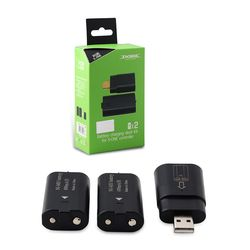 Hot Charge cable Kit For XBOX ONE Wireless Controller Play Battery Pack Charge + Rechargeable Battery Pack Black Color