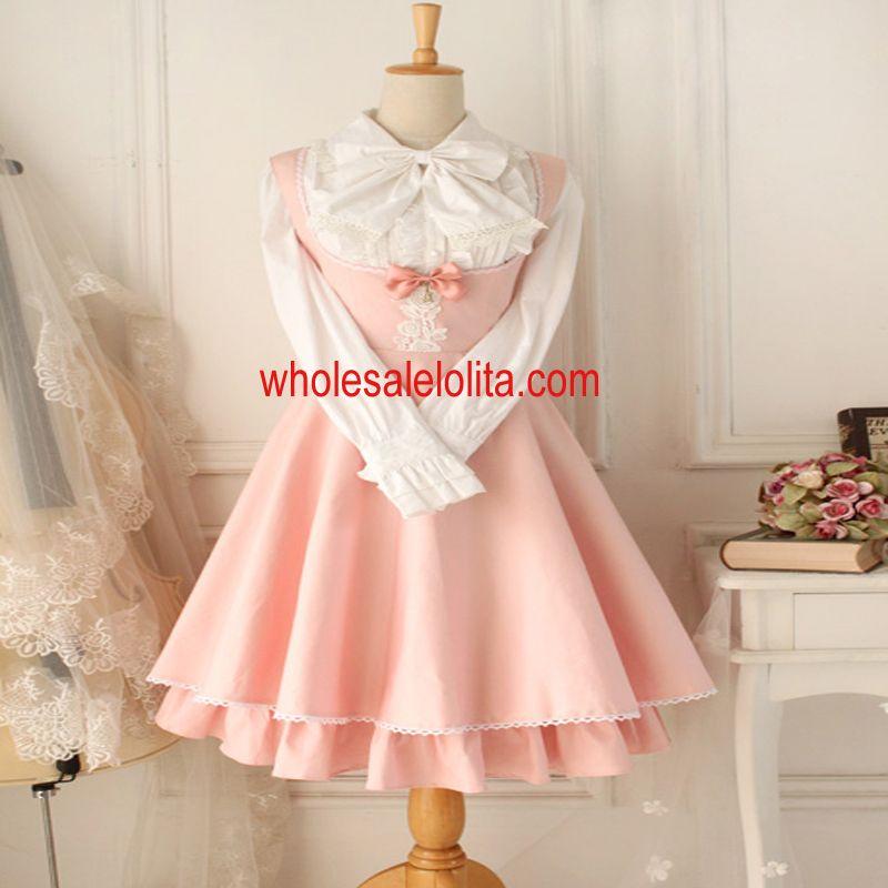Vintage Gothic Style Pink Lolita Dress Women's Dress