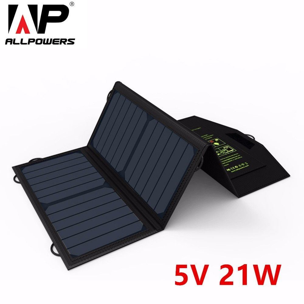 ALLPOWERS 5V 21W High Power Solar Panel Charger Dual Hidden USB Ports Battery For Iphone For Samsung Portable Traveling Size