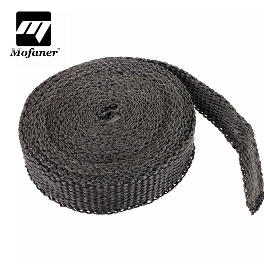 4.5m x 2.5cm x 2mm Car Motorcycle Exhaust Heat Pipe Header Wrap Manifold Fiberglass Insulating Black